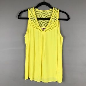 Skies Are Blue bright yellow v Neck tank